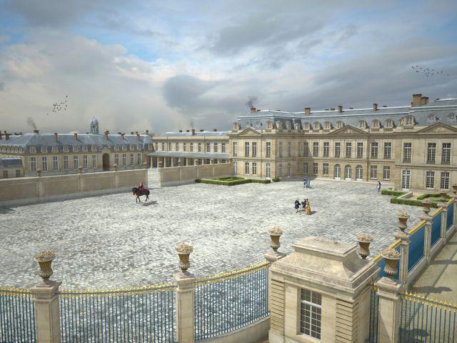 Vue du Grand château et de la Cour des Princes - Le Grand château de Choisy, construit vers 1680 par Mlle de Montpensier, cousine de Louis XIV, a été racheté en 1739 par le roi Louis XV. Ce dernier l'a fait agrandir et aménagé pour pouvoir y loger ses invités, qui le suivaient dans ses « Voyages » à Choisy. Le Grand château de Choisy était situé au niveau des voies ferrées du RER C, entre la gare et le pont des Mariniers.