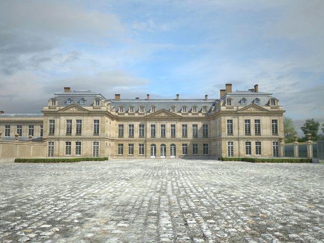 Façade du Grand château depuis la cour - L'entrée principale, au centre, donnait sur un grand vestibule. La chambre du Roi était située au rez-de-chaussée, sur la droite (aile sud), sa chambre faisant face au parc. Au-dessus se trouvait l'appartement occupé par ses maîtresses : Mlle de Châteauroux, Mme de Pompadour, puis par la Reine, à partir des années 1760.