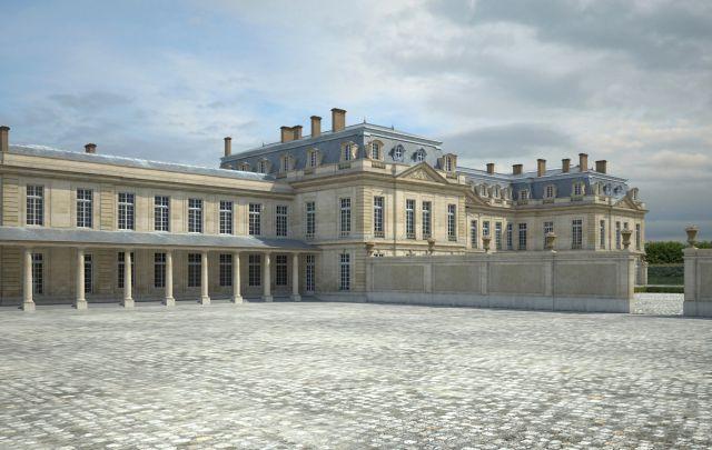 Vue du Grand château depuis la cour des Princes - La galerie située à gauche du Grand château a été construite par la princesse de Conti, fille de Louis XIV et propriétaire du château de Choisy de 1715 à 1739. Sous Louis XV, cette aile comprend une galerie, la salle à manger du château, la salle des Buffets, pour aider au service du repas, et l'appartement des bains à l'étage.