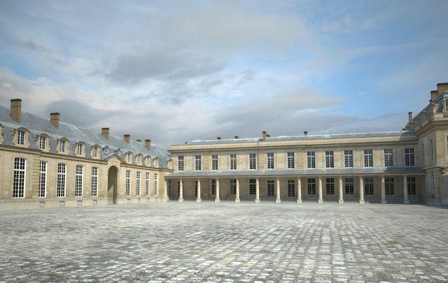 Vue de la cour des Princes - Sur la gauche se trouve l'aile des Cuisines, appelée « Pavillon de la Bouche », où étaient préparés les repas. Elle se situait entre l'actuelle gare RER et la salle du Royal, dans laquelle subsiste aujourd'hui un morceau de mur de ce bâtiment.