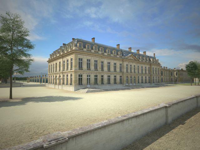 Façade du Grand château vue depuis la terrasse, côté Seine - La façade arrière du château de Choisy faisait face à la Seine, selon les souhaits de Mlle de Montpensier, première propriétaire des lieux. Depuis sa chambre, située au rez-de-chaussée, elle pouvait apercevoir le fleuve. Dans le prolongement, au fond, on aperçoit l'aile des Bains et l'aile des Seigneurs, cachée par les arbres.