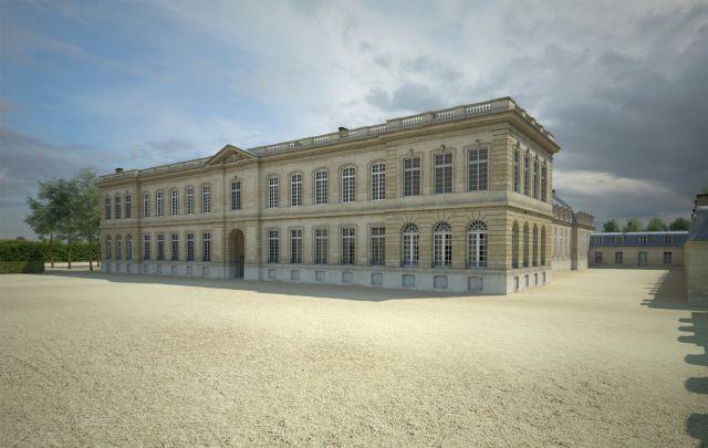 L'aile de la Comédie, qui abritait une salle de spectacles, a été construite en 1750 sous l'influence de Mme de Pompadour, grande amatrice de théâtre. L'allée sur la droite, fermée au fond par des bâtiments, fut ouverte vers 1903 pour créer l'actuelle avenue Anatole France.