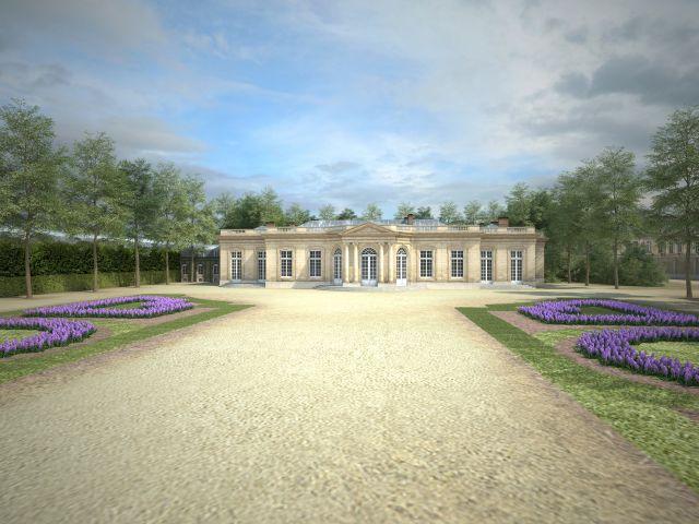 Façade du Petit château, vue depuis le jardin particulier du Roi - Contrairement à Louis XIV, qui aimait rendre public chaque instant de son quotidien, Louis XV aspirait à préserver sa vie privée. Ainsi, le Petit château de Choisy, construit en 1754 par l'architecte Ange-Jacques Gabriel, est conçu comme une résidence intime, réservée au cercle privé du Roi. Il préfigure, par son architecture et sa fonction, le Petit Trianon de Versailles, construit vers 1760.