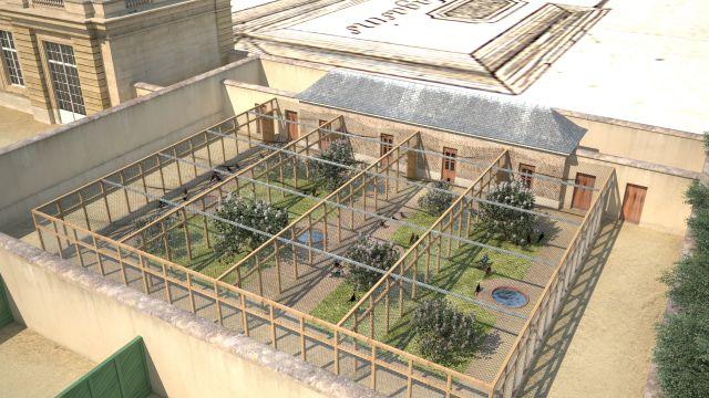Vue aérienne. Dans les enclos des faisans, on peut voir des lilas, plantés pour apporter de l'ombre aux oiseaux. Ces volières étaient situées au niveau de l'actuelle galerie Rouget de Lisle, à côté de l'escalier qui descend depuis la dalle vers l'esplanade Jean Jaurès et l'église Saint-Louis Saint-Nicolas. ©Aristeas