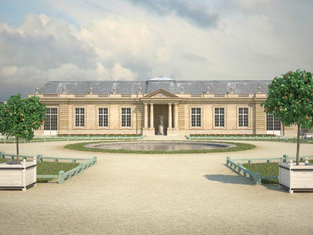 Orangerie (de face) Cette orangerie fut construite en 1752-1753, entre la Ménagerie et l'enclos aux ananas. Au centre du bâtiment, on aperçoit une statue : il s'agit de L'Amour adolescent, réalisé par Edme Bouchardon, statue en marbre aujourd'hui conservée au Musée du Louvre. ©Aristeas